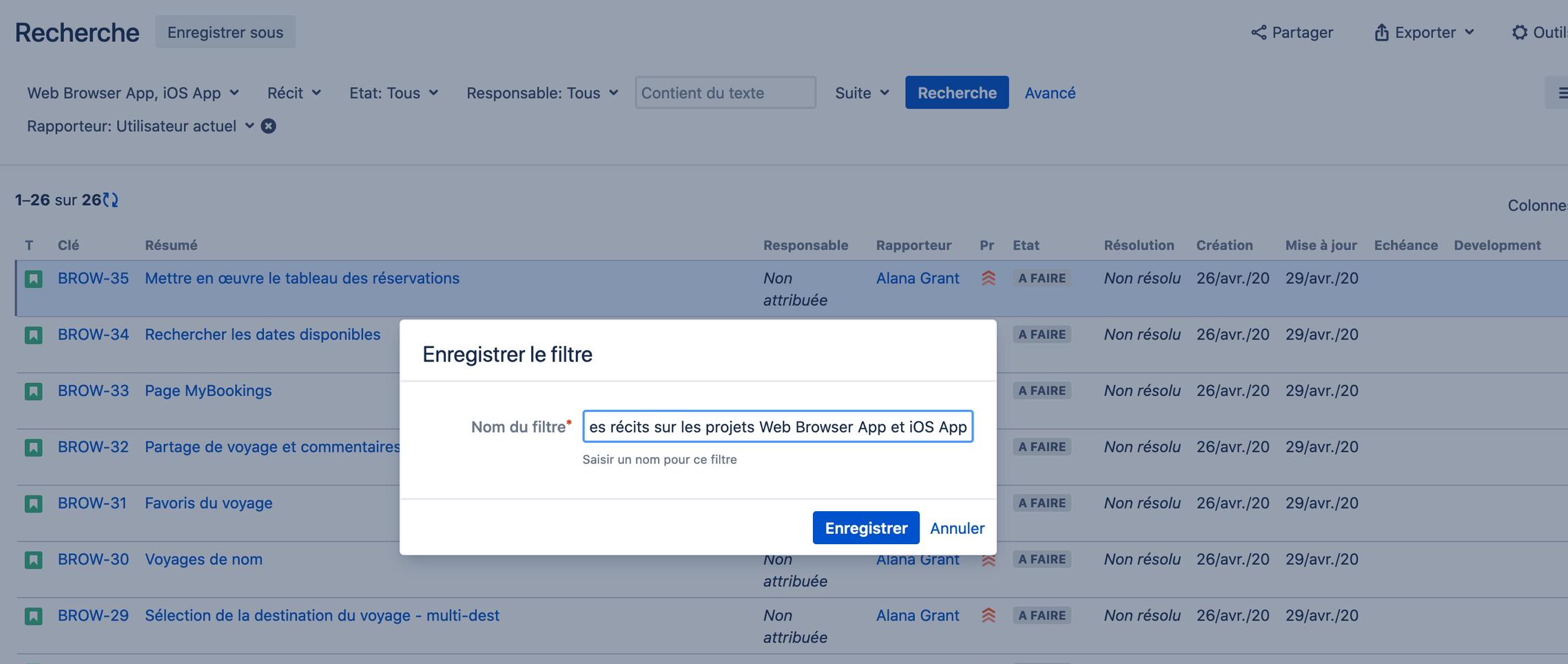 Rechercher des demandes dans Jira : enregistrer un filtre
