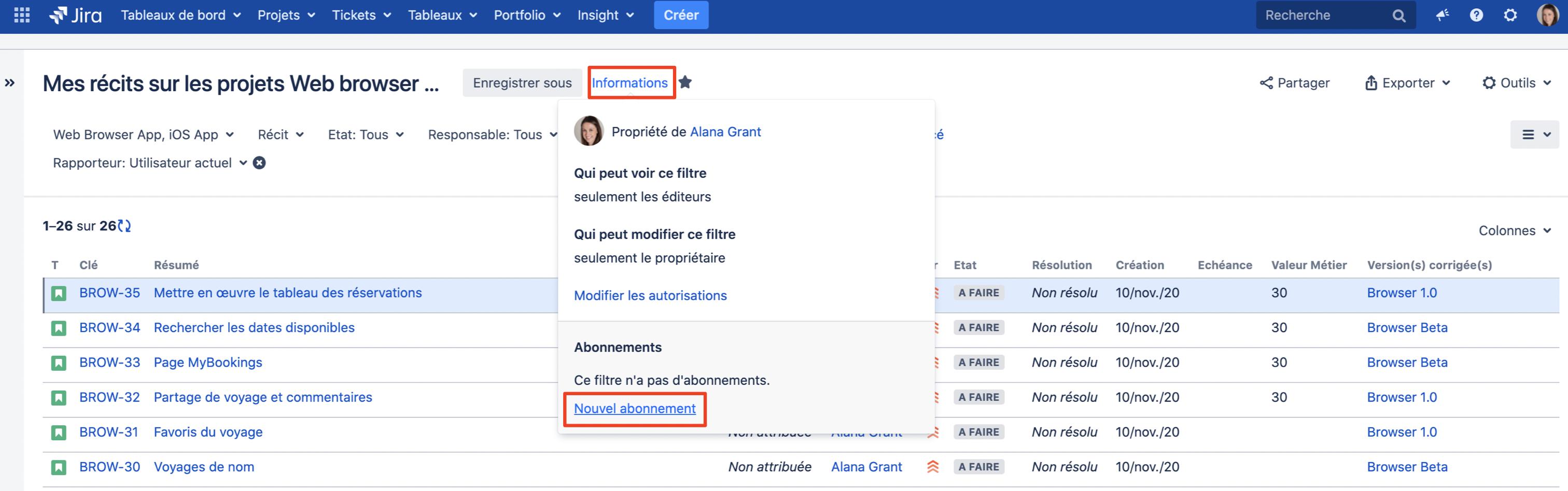 Recherche dans Jira : Abonnement à un filtre