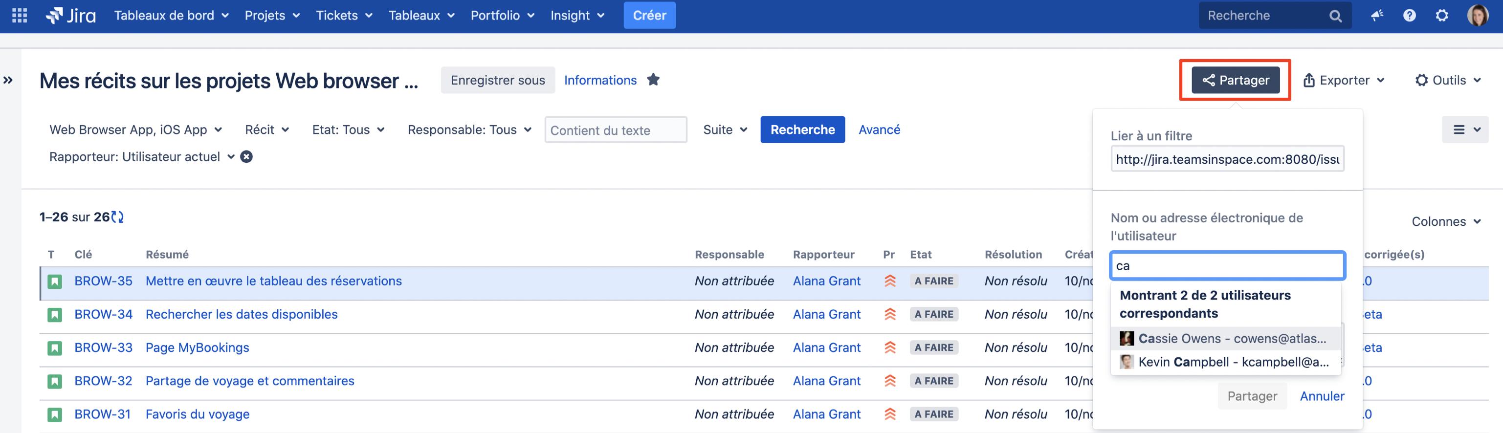 Exporter sa recherche Jira : envoyer les résultats de la recherche par mail